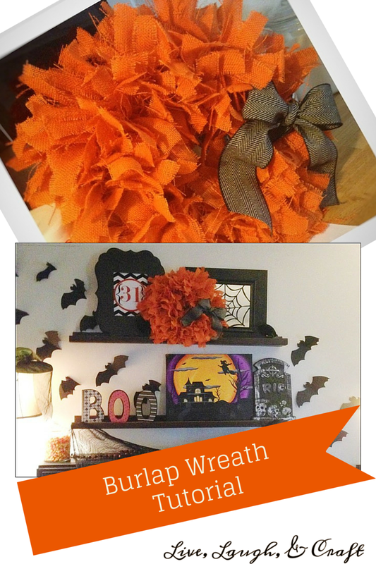 DIY Halloween Burlap strip Wreath