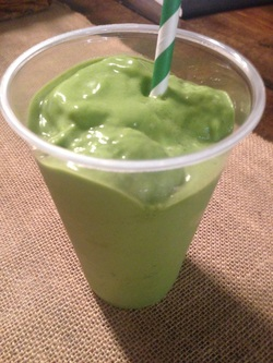 The famous green smoothie from a smoothie shop in NYC