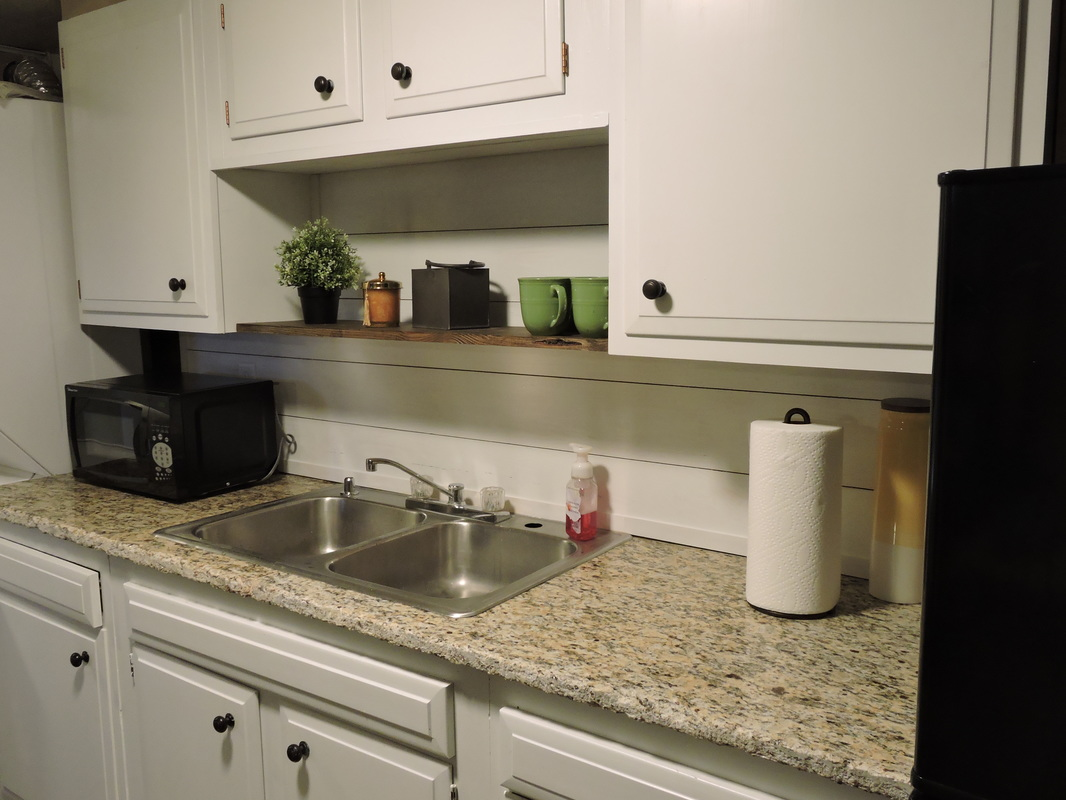 Kitchenette Shiplap Backsplash