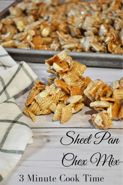 This gooey sheet pan chex mix is my favorite recipe because it cooks up in 3 minutes and you don't need a candy thermometer! I love that it cools on a sheet pan too. Makes for easier eating.