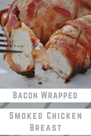 Bacon wrapped chicken breast smoked on a pellet grill will be the yummiest dinner on your menu this week.