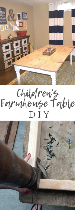 Such an easy DIY for a playroom. My boys love this farmhouse table. The perfect table for coloring and playing.