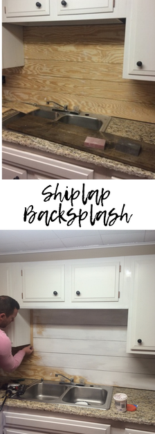 Shiplap in kitchen as backsplash. So simple, inexpensive, and beautiful!