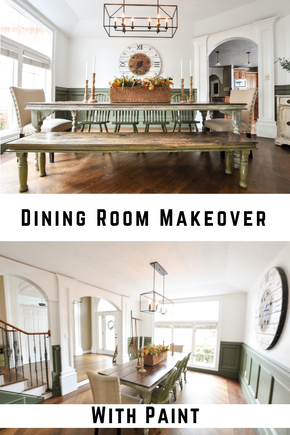 Simple dining room makeover with paint and a new light fixture. DIY can be easy and affordable...and totally worth doing! Perfect green paint color and light fixture sources in post.