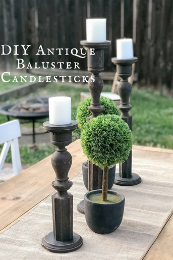 Gorgeous one of a kind candlestick DIY made from antique balusters. This is so easy!!