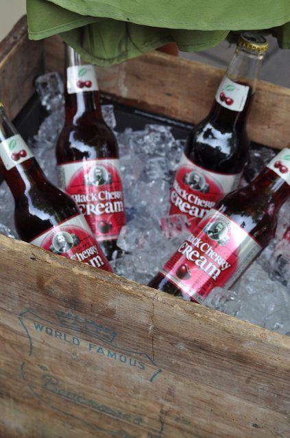 Rustic drink cooler made from an old antique crate.