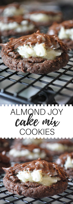 Decadent chocolate coconut cake mix cookies. If you love almond joy's, you will love these!!