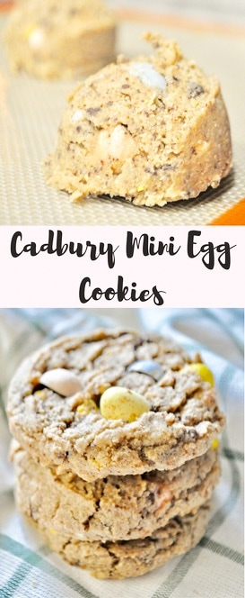 Cadbury Mini Egg Cookies- Oat cookies packed with Cadbury Mini Eggs! These are the perfect Easter treat!