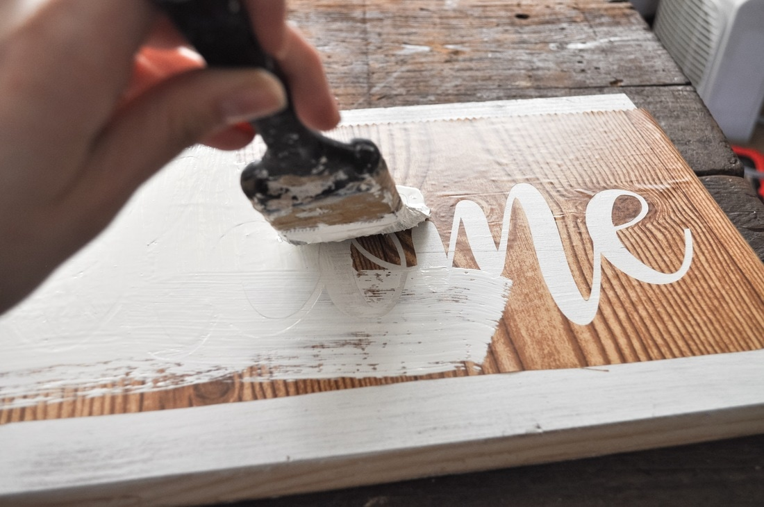 This technique seals in the paint around your stencil to get the cleanest best look