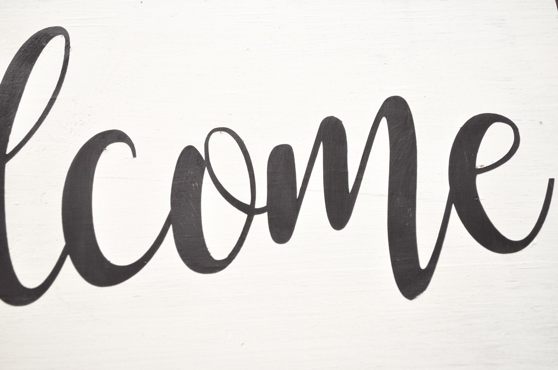 Welcome sign stencil DIY