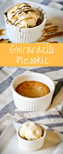 Ghirardelli Pizookie is warm gooey cookie ice cream treat. This is when a cookie and a pie make a baby.....pure heaven!
