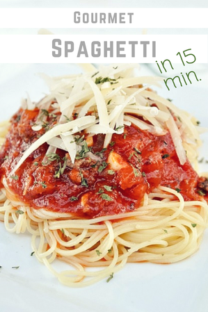 Improve your store bought spaghetti sauce with this recipe! Take boring spaghetti to AMAZING! One of our favorite #familymeals #weeknightmeals #dinnerrecipes
