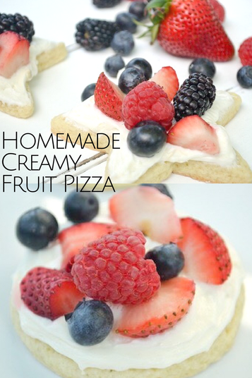 4th of July just got prettier and yummier with this patriotic fruit pizza! Easy to make and such a crowd pleasing dessert. #dessert #partyfood #fruit #4thofjuly #fruitpizza