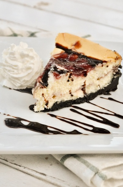 White chocolate raspberry cheesecake with a chocolate oreo crust. This is an easy cheesecake to whip up, and tastes better than the Cheesecake Factory version!!