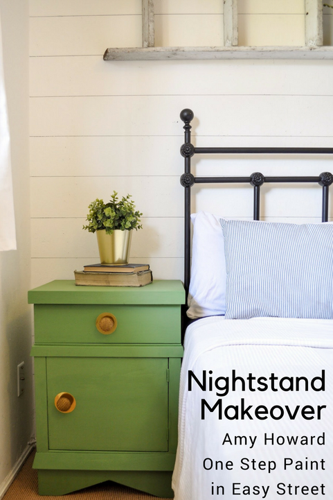 Nightstand makeovers with Pantone green paint called Easy Street. A One Step Paint from Amy Howard at Home.