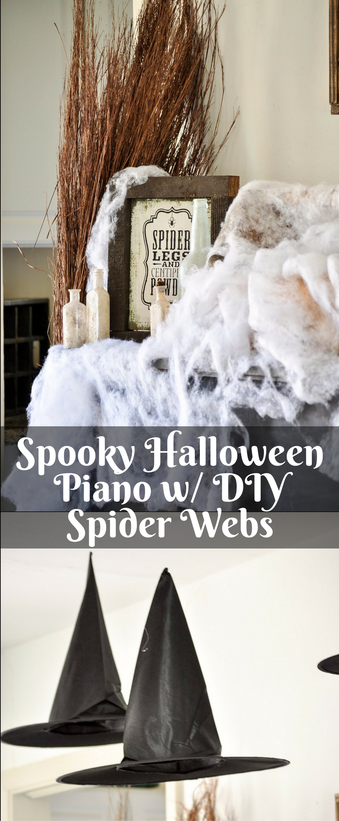 Add a fun faux spider web to your piano or mantle this year. This project so easy and inexpensive.
