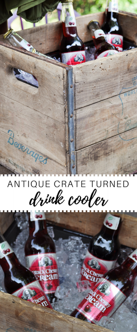 Gorgeous rustic drink cooler made from an old crate. Would be great for a rustic outdoor wedding and party.