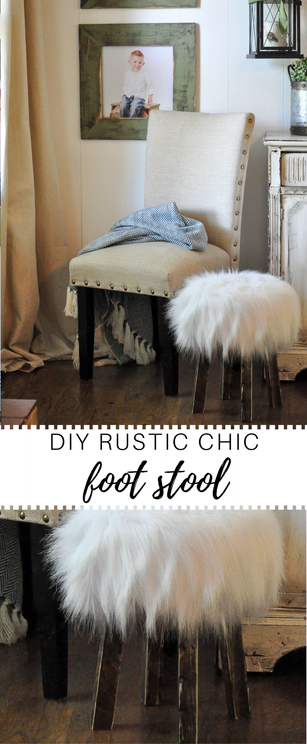 Gorgeous white fur foot stool. DIY tutorial with easy to follow instructions. This is rustic chic. It will be going in our newly renovated 1970's rv.