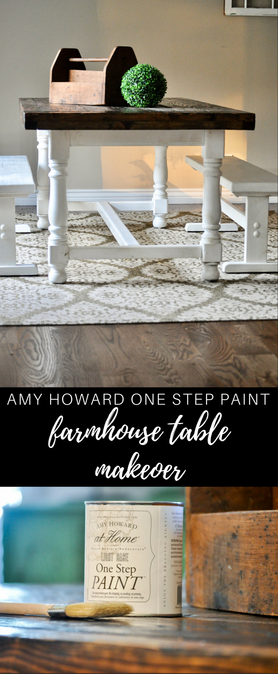 Gorgeous farmhouse table makeover with Amy Howard One Step Paint. This is an easy to use, luxury paint line. No more rough textures or paint strokes on your furniture.