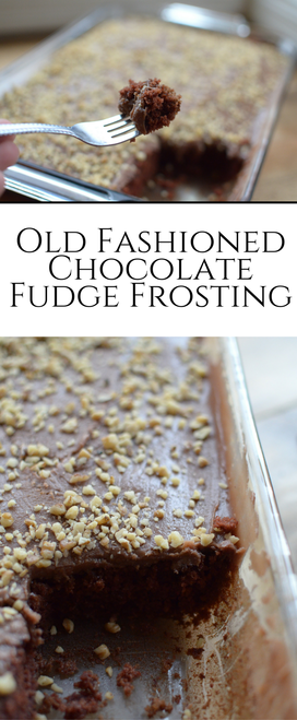 This chocolate fudge frosting is perfectly thick and rich! The #bestfrosting I have ever had! #chocolatefrosting #frosting #oldfashionedfrosting #dessert