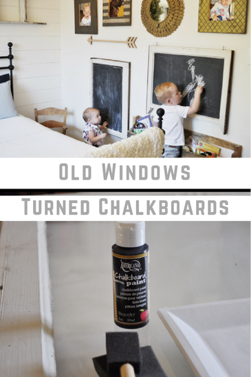 Turn old windows into chalkboards. This is such a simple way to make a chalkboard. It is one of a kind and so beautiful! This is rustic farmhouse style chalkboard at its finest.