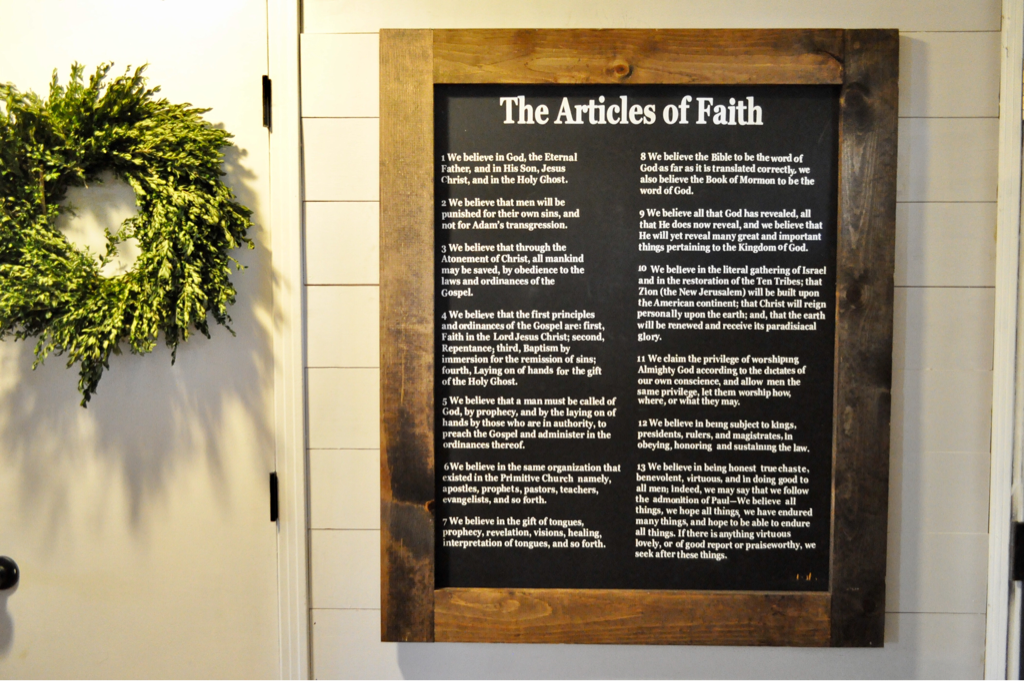 DIY Articles of Faith Sign