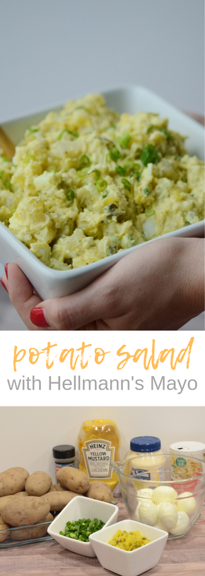 THE BEST potato salad made with real mayo! So many good flavors and textures in this tried and true potato salad. #bbqfood #potatosalad