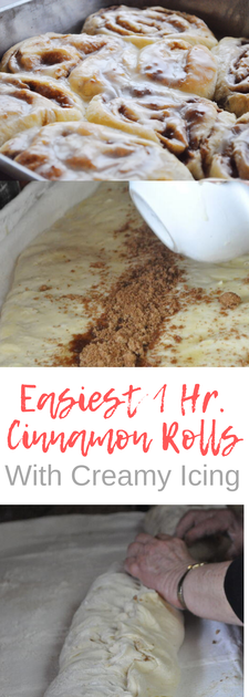 This is a very easy 1 hour cinnamon roll recipe. These cinnamon rolls have a nice fluffy texture, not airy. My go to cinnamon roll recipe I get requests for constantly!