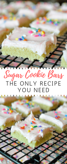 The perfect sugar cookie dough recipe meets sugar cookie bars. This is an easy way to get your sugar cookie fix. Really the only sugar cookie recipe you'll ever need. Add a splash of almond to the buttercream for a delicious almond sugar cookie. YUM!