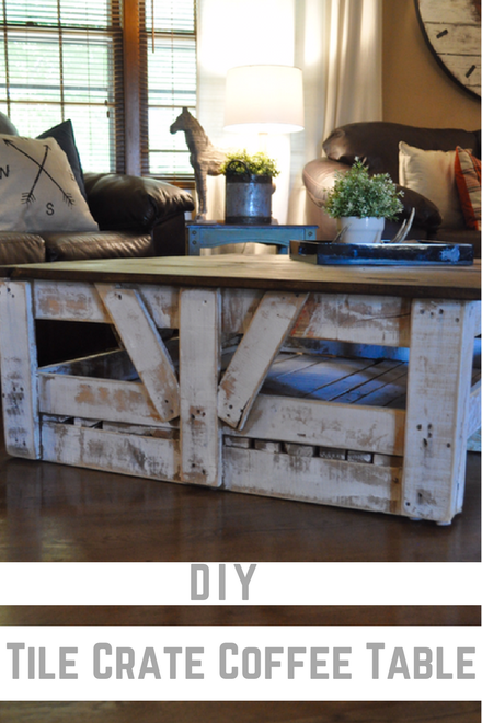 If you are looking for plans on building a simple coffee table, you've found it! This diy tile crate coffee table is so easy and inexpensive to make!