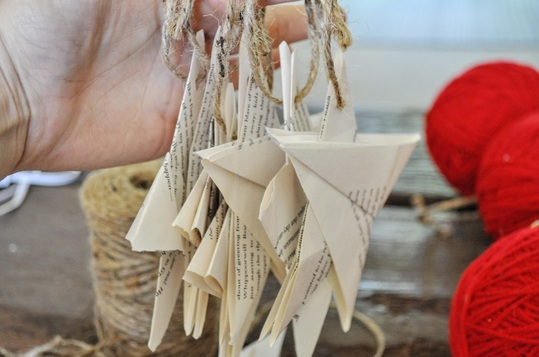 Star Christmas tree ornaments made from books.