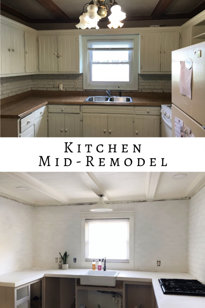 Old house kitchen remodel. Kitchen remodel 1880 house. White concrete countertops.