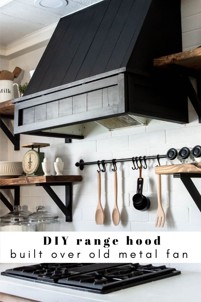 DIY range hood built around an old kitchen fan.