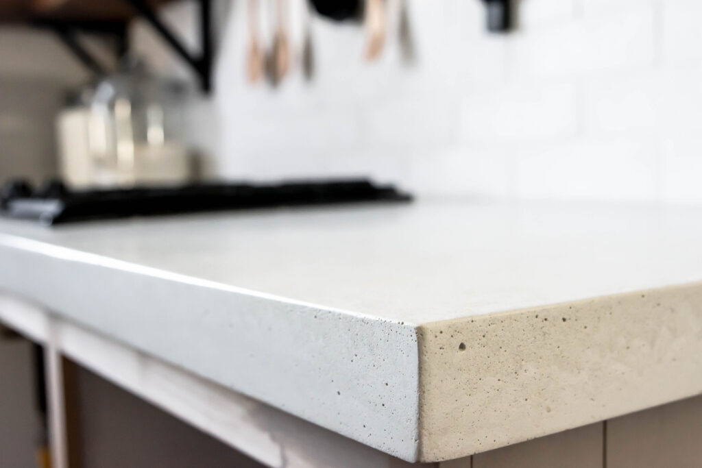 White concrete countertops in kitche. True white concrete countertops.