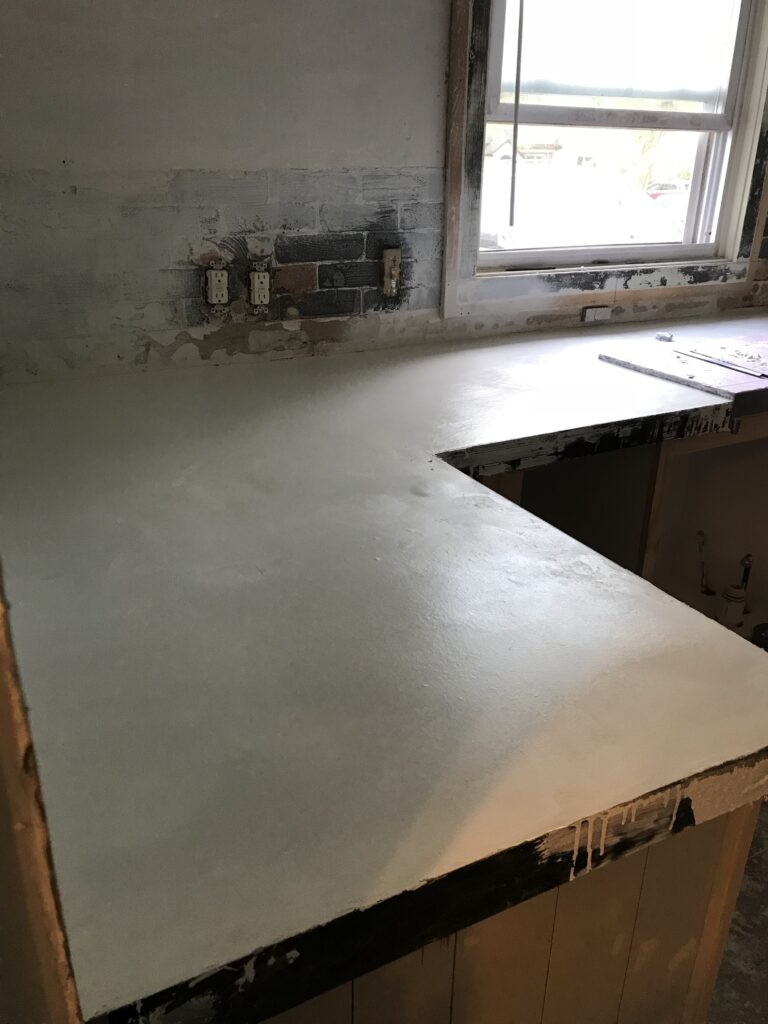 Concrete countertop process.