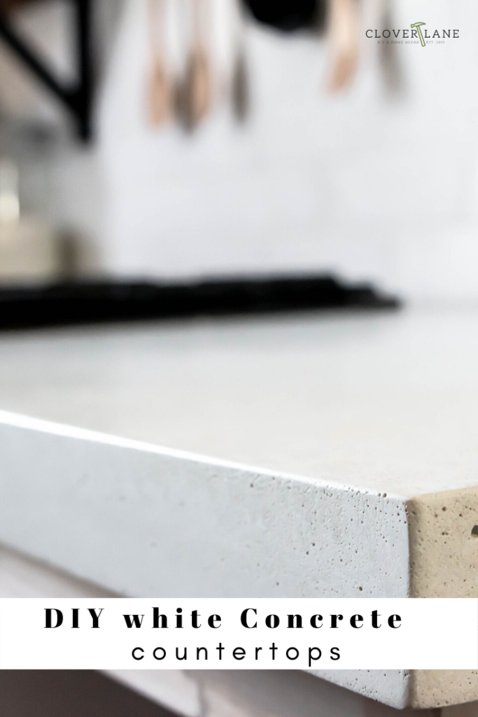 DIY white concrete countertops. How to make your own concrete countertops. DIY concrete countertops. Bright white concrete countertops. DIY true white countertops.