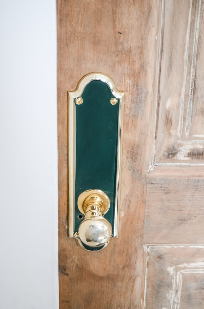 Aged brass doorknobs for old homes
