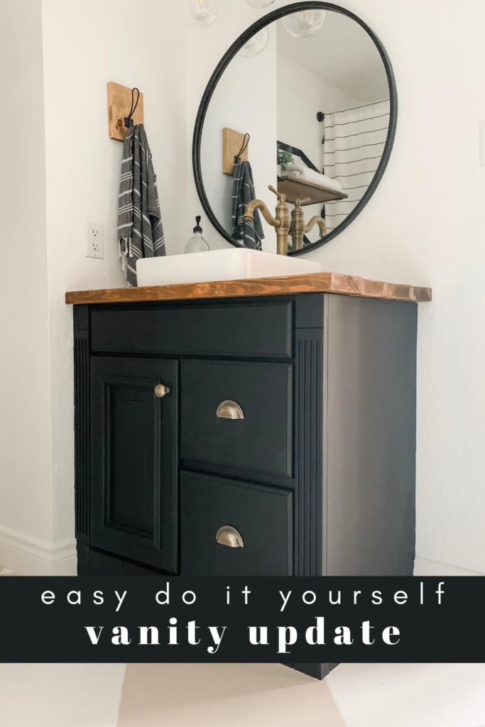 Easy vanity update anyone can do. Short on money? Paint and new hardware are the easiest way to update an old cabinet and make it YOURS.