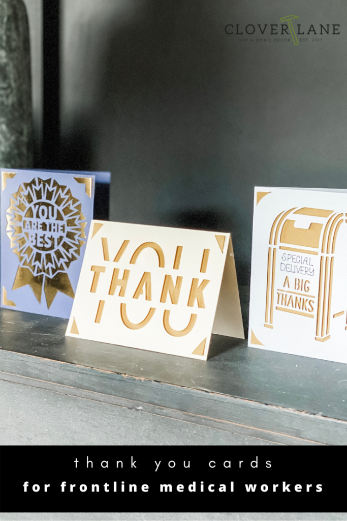 #sponsored Make a beautiful thank you card for frontline healthcare workers in under 5 minutes with Cricut Joy machine. Personalized cards in minutes. Make a quick thank you card with your cutting machine. #cricutcreated