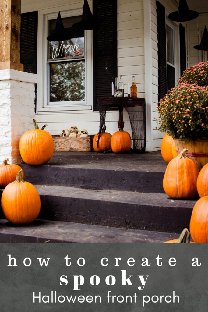 How to create the spookiest Halloween porch on the block. Spooky halloween porch decor. Spooky porch decorations. Halloween porch.