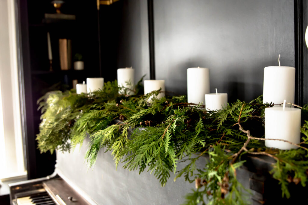 Easy Christmas decor with foraged greenery