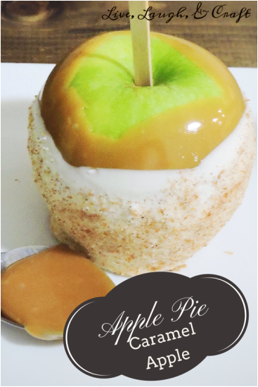 gourmet caramel apple with apple pie topping.